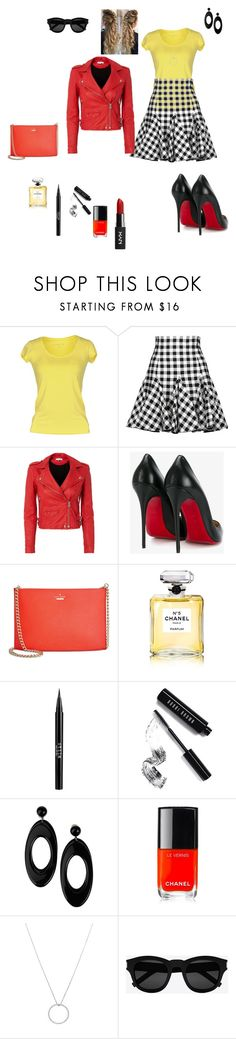 """RED, YELLOW, CHECKERBOARD"" by babiegirlmaw ❤ liked on Polyvore featuring Patrizia Pepe, Dolce&Gabbana, IRO, Christian Louboutin, Kate Spade, Chanel, Stila, Bobbi Brown Cosmetics, Emporio Armani and Roberto Coin"