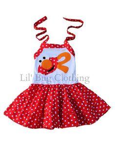 ee9ed44c0ce6 Elmo Tiered Personalized Birthday Girl Dress