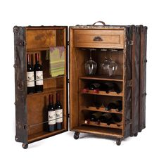 One-of-a-kind wine storage cabinet made with a vintage steamer trunk - SOLD