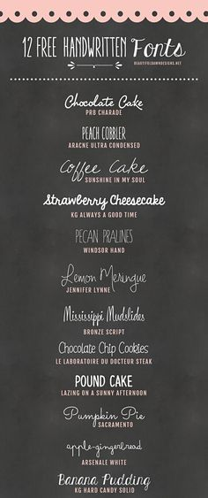 Here is a collection of 12 free handwriting fonts! I think handwriting fonts add so much character and uniqueness to custom graphics. These free fonts are perfect for wedding invitations. Blog Fonts, Typographie Fonts, Blogging, Fancy Fonts, Photoshop, Free Handwriting Fonts, Chalkboard Fonts Free, Beautiful Handwriting Fonts, Graphics