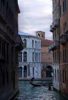 Rita Crane Photography:  Italy / Venice / The Grand Canal / dusk / palazzos / Rialto Gondolier I, Venice