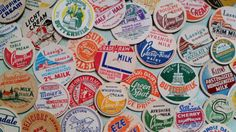 50 Vintage Milk Bottle Dairy Caps Antique for Scrapbooking Collage Mixed Media Cream