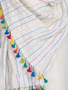 Buy Multicolor White Stitch Line Detailed Cotton Mul Stole with Tassels Scarves & Stoles Woven Caught Amid a Summer Field Bright Embroidered Apparel in Khadi Online at Jaypore.com Embroidery Scarf, Embroidery On Kurtis, Kurti Embroidery Design, Hand Embroidery Flowers, Embroidery On Clothes, Embroidered Clothes, Hand Embroidery Stitches, Embroidery Fashion, Hand Embroidery Designs