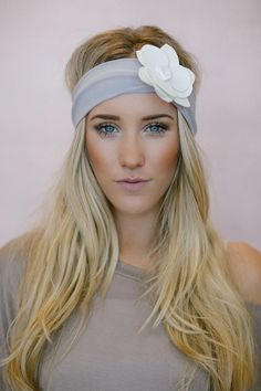Jersey and Leather Flower Headband Bohemian by ThreeBirdNest, $48.00