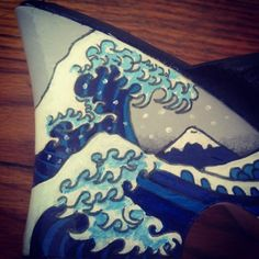 Hand Painted Japanese Wave Shoes