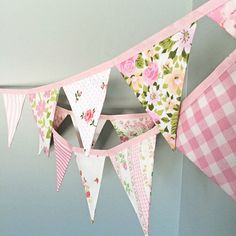 Items similar to Pink Fabric Bunting Banner / Baby Girl Nursery Decoration / Pennant Flag Garland / Girl Baby Shower / First Birthday Party / Pink Decoration on Etsy Pink Bunting, Fabric Bunting, Wedding Bunting, Party Bunting, Wedding Decorations, Birthday Bunting, Diy Birthday, Happy Birthday, Diy Banner