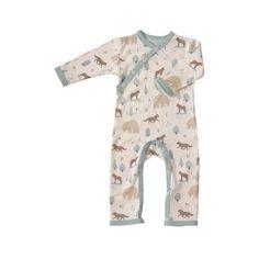 2c1ceec056 Pigeon Organics Woodland Romper Blue Wolf via Polyvore featuring baby  sleepsuit Baby Boy Clothes Uk