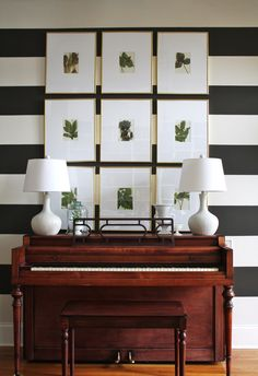 Striped Entry & Piano Room .  Perfect for a study  Submitted by: Emily C.