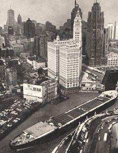 vintage CHICAGO photo Michigan Ave Bridge, 1950s. Chicago vintage photograph