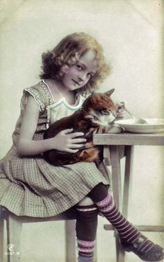 Girl feeding cat (real photo postcard), 1910s.