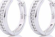 GULICX CZ Crystal Hoop Stud Earrings White Gold Plated Silver Tone Channel Setting - Diameter 23mm ZMBLBgEyf