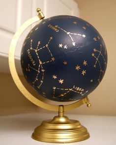 Custom Hand Painted Constellation Globe by PrettyLittleDoodads