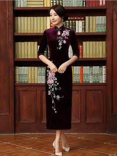 0216d5a8f9 Embroidery Half Sleeve Long Cheongsam Dress Cheongsam Dress
