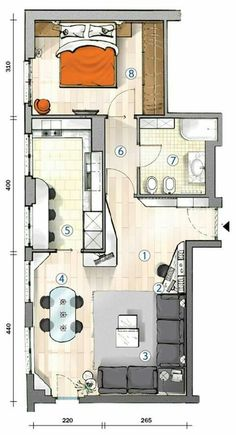 tiny flat with lots of window in kintchen. and living room. appartamento di 55 mq con tante finestre in soggiorno e cucina Small House Plans, House Floor Plans, Small Apartments, Small Spaces, Espace Design, Apartment Floor Plans, Small Apartment Plans, Interior Design Sketches, Apartment Layout