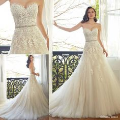 """Our Gown of the Week is Sophia Tolli for Mon Cheri Bridals """"Prinia"""". This strapless tulle A-line gown features a sweetheart bodice with decadent layers of hand-beaded lace appliqués and a dazzling hand-beaded crystal belt."""