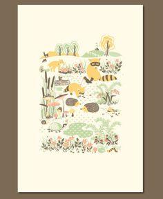 Woodland Creatures Letterpress Print Hello!Lucky hello lucki, art, woodland creatures, babi, letterpress print, prints, illustr, creatur print, creatur letterpress