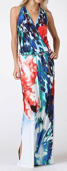 Abstract Maxi Dress 45.00 Blue and red long maxi with belt. Polyester/Spandex. Lined.