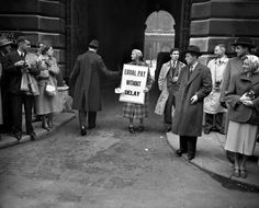 Equal Pay protest on Whitehall in 1952.
