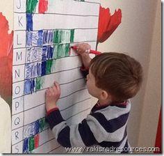 Kleur de eerste letter van je naam. De hele groep laten doen en dan bekijken welke letter er het meest voorkomt....in welke namen..