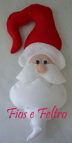 Love this Santa ornament! Felt Christmas Decorations, Felt Christmas Ornaments, Santa Ornaments, Christmas Projects, Felt Crafts, Holiday Crafts, Christmas Makes, Christmas Fun, Christmas Nativity