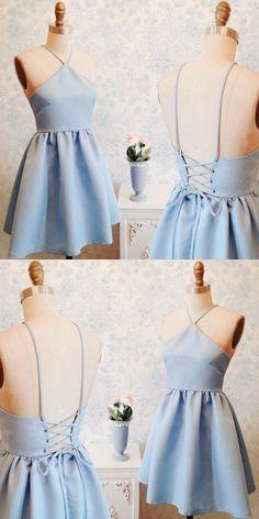 A-Line Dresses,V-Neck Homecoming Dresses,Short Homecoming Dresses,Lace-up Dresses,Blue Homecoming Dresses,Homecoming Dresses 2017,Cute Homecoming Dresses,Dresses For Teens