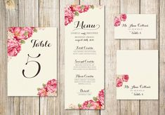 Printable Wedding Table Set  DIY Wedding Table by RoseBonBonShop, $30.00