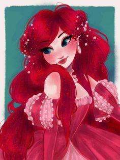 Another beautiful piece of Ariel Fanart! Disney Princess Ariel, Disney Nerd, Princess Art, Disney Fan Art, Disney Movies, Walt Disney, Goth Disney, Cinderella Movie, Mermaid Princess