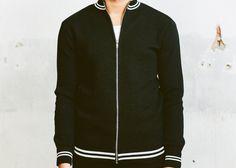 Vintage BLACK TRACK JACKET . Men's 1970s Wool by BetaMenswear