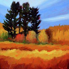 Fir in the Field Landscape Painting by Nancy Merkle