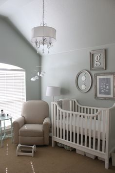Elegant Gender Neutral Nursery with a could theme.