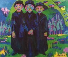 Ernst Ludwig Kirchner - Die drei alten Frauen, 1925-26, oil on canvas