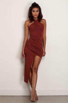 b6dfa30f5e FINAL SALE- Rust Exotic Queen Asymmetrical Dress