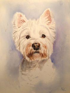 West highland terrier. Westie. Custom pet portrait.Dog