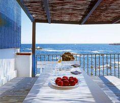 Entertain overlooking the Mediterranean Sea. Via Interiors and Design blog.