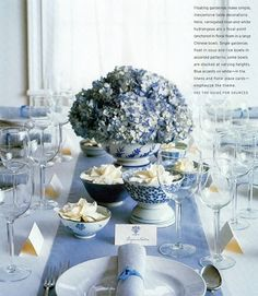 Beautiful hydrangea centerpiece and blue and white table setting. Periwinkle Wedding, Blue Hydrangea Wedding, Wedding Table Flowers, Wedding Decorations, Table Decorations, Blue Hydrangea Centerpieces, Hortensia Hydrangea, White Table Settings, Martha Stewart Weddings