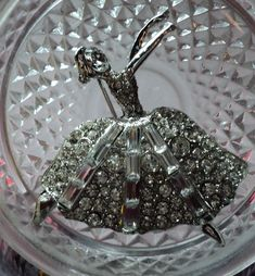 Items similar to Vintage silver tone Lorren Bell unsigned white rhinestone ballerina dancer pin brooch. on Etsy