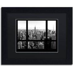 Trademark Fine Art View of New York City Canvas Art by Philippe Hugonnard, Black Matte, Black Frame, Size: 11 x 14, White