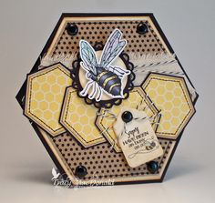 fun bee card full of lovely hexagons starting with the card shape and ending with the honeycomb patterned paper in the hexagons...
