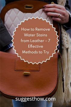 Rainy weather and stuck water puddles can make your leather accessories like leather purse, leather shoes or leather boots look paled and dirty. In this situation, avoiding leather is never a good choice. Instead, learn how to remove water stains from leather and look fabulous all the time. #clean #homehacks #DIY #cleaninghacks Leather Accessories, Leather Shoes, Rubbing Alcohol Uses, Remove Water Stains, Washing Soap, Commercial Cleaners, Dishwasher Soap, Rainy Weather, Leather Conditioner