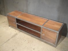 steel and walnut modern entertainment center