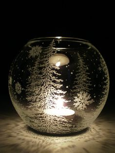 Fir Trees And Floating Flakes' Glass Globe Candle Holder . Hand Engraved . Winter Home Decor on Etsy, $47.76 CAD
