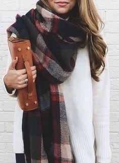 Plaid oversized scarf