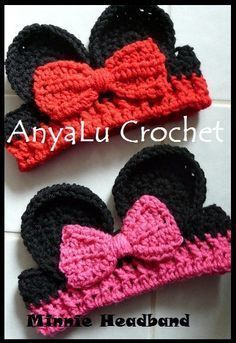 Valentine's Day Minnie Mouse Inspired Headband/Earwarmer by AnyaLu, $15.00. Great idea!! Wonder if I can figure out the pattern