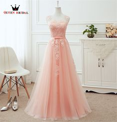 2018 Blush Pink Prom Dresses Long Appliques Lace Zipper Back Floor Length Tulle Illusion Formal Evening Party Dress Real. Pink Bridesmaid Dresses Long, Homecoming Dresses Long, Elegant Prom Dresses, Tulle Prom Dress, Prom Party Dresses, Pretty Dresses, Pastel Prom Dress, Evening Dresses, Pastel Pink Dresses