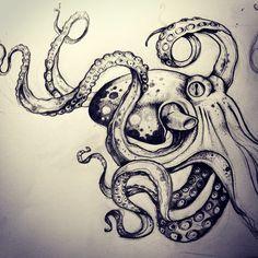⚡️ sketch #kraken #sketch #octopus #giantoctopus #seamonsters #tentacles #misssita Octopus Sketch, Octopus Drawing, Octopus Tattoo Design, Octopus Tattoos, Tattoo Designs, Octopus Artwork, Squid Tattoo, Brust Tattoo, Art Folder