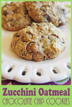 Zucchini Oatmeal Chocolate Chip Cookies from Jamie Cooks It Up!!