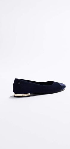 Flats, suede goatskin & satin-navy blue - CHANEL