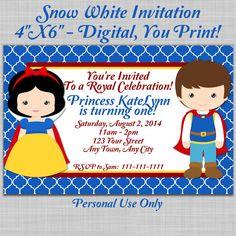 Snow White and Prince Charming Birthday Party Invitation ~ Digital Invitation, Printable Invitation, Disney Inspired, Disney Princess, DIY