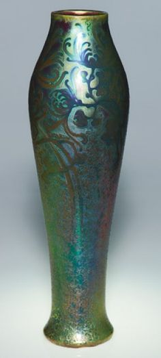 Weller Sicard 17 inch vase decorated with spider mums by Jacques Sicard and covered with a fine example of the me. on Jun 2008 Art Nouveau, Art Deco, Antique Pottery, Pottery Art, Antique Vases, Hull Pottery, Weller Pottery, Roseville Pottery, Glass Ceramic