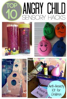 These are the Top 10 Angry Child Sensory Hacks. They are perfect for a calming corner and sensory tools basket to help children cope with anger and frustration Social Work, Social Skills, Coping Skills, Social Emotional Learning, Sensory Tools, Sensory Diet, Sensory Issues, Diy Sensory Toys, Angry Child
